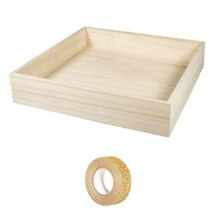 Plateau carré bois 25 x 25 x 5 cm +...
