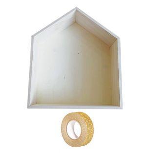 Scaffale in legno 35 x 30 x 10 cm +...