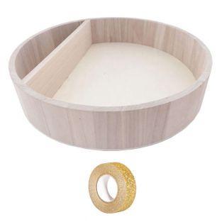 Etagère ronde bois 34 x 7 cm +...
