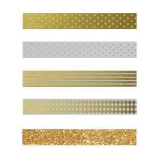 4 Masking Tapes mit Weißem & Goldenem...