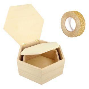 2 cajas de madera hexagonales +...