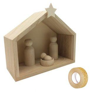 Cuna de madera 18 x 8 x 15 cm +...