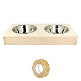 2 stainless steel bowls + wooden...