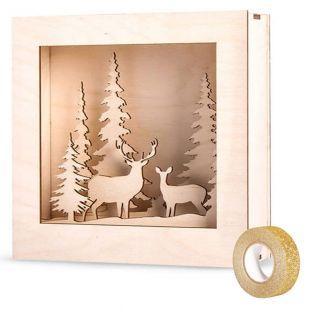 Cuadro de madera bosque de Navidad 20...