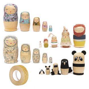 Set aus 5 Russischen Holzpuppen...