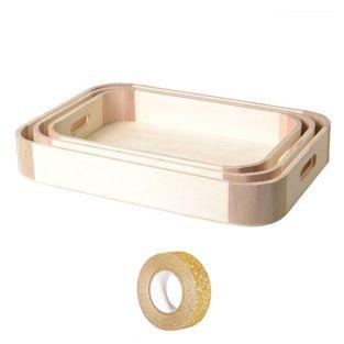 3 wooden trays to customize + Golden...