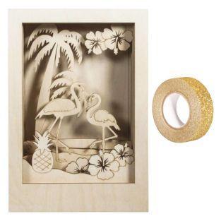 Cadre bois à motif 3D Flamant 20 x 30...