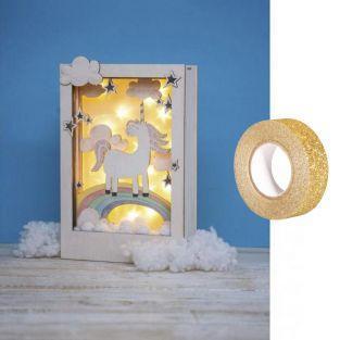Cadre bois à motif 3D Licorne 20 x 30...