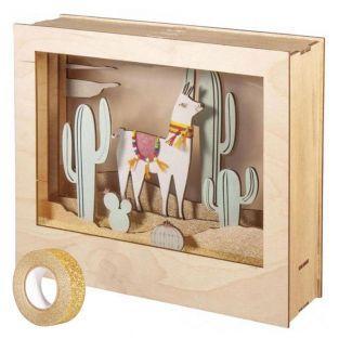 Cadre bois à motif 3D Lama 24 x 20 cm...