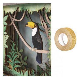 Cadre bois à motif 3D Toucan 24 x 24...