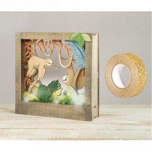 Cadre bois à motif 3D Paresseux 24 x...