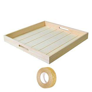 Square wooden tray 45 x 45 x 5 cm +...