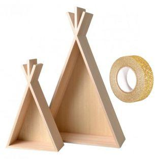 2 Holzregale Tipi 45 & 26 cm + Golden...