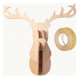 Testa di renna in legno MDF 60 x 50 x...