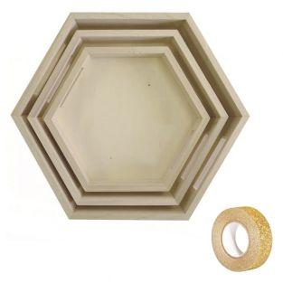 3 hexagonal wooden tray to decorate +...