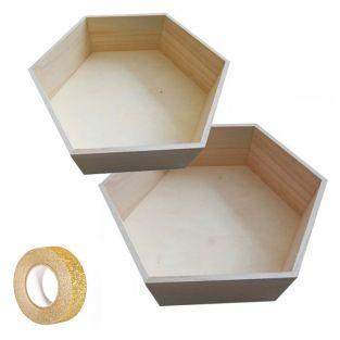 2 hexagonal wooden shelves 36 x 31 cm...