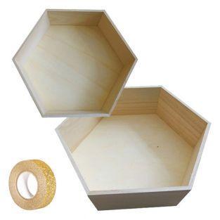 2 hexagonal wooden shelves 30 x 26 cm...