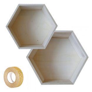 2 hexagonal wooden shelves 27 x 23,5...