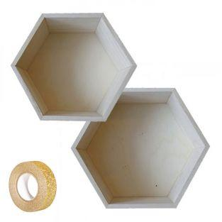 2 hexagonal wooden shelves 24 x 21 cm...