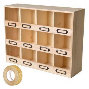 Scaffale con 12 scatole di legno +...
