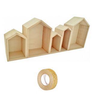 Etagère bois 5 blocs maison 50 x 8 x...