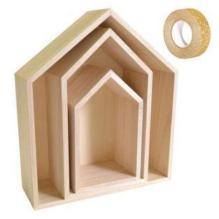 3 Holzregale Haus + Golden glitter...