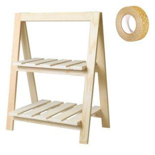Wooden shelf with 2 levels 25 x 41 x...
