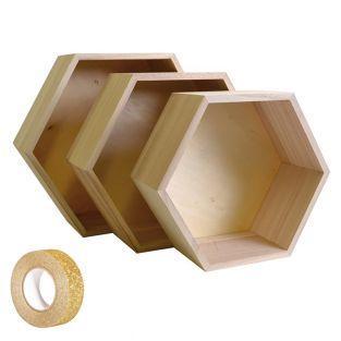 3 scaffali di legno Esagono + washi...