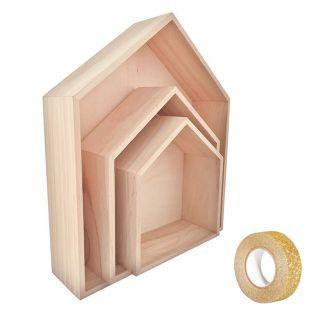 3 ripiani in legno a forma di casa 35...