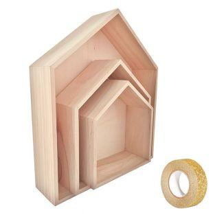 3 wooden shelves House 35 x 30 cm +...
