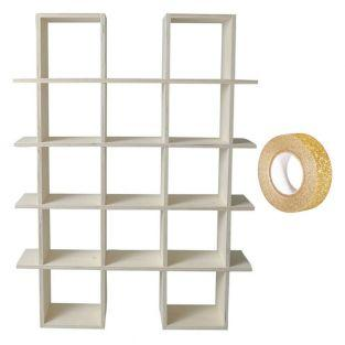 Wandregal aus Holz mit 4 Ebenen zum...