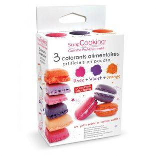 Food colouring set - orange, purple, pink