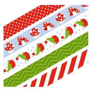 5 Washi tapes 5 m Weihnachten & Pilze