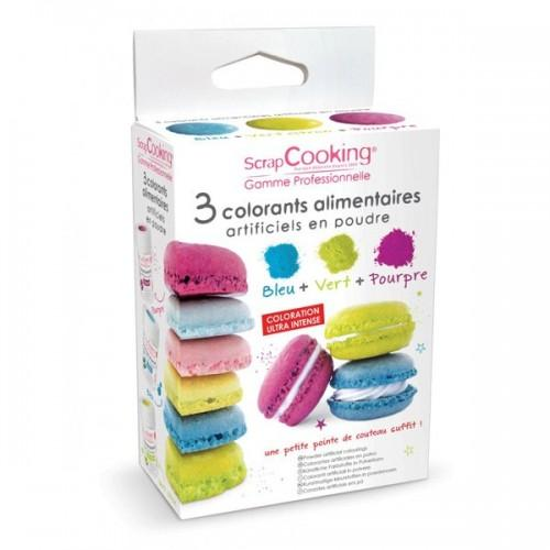 Food colouring set - blue, green, purple