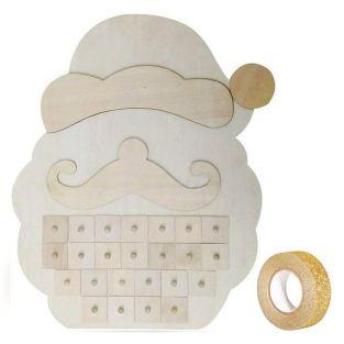 Advent Calendar Wooden Santa Claus +...