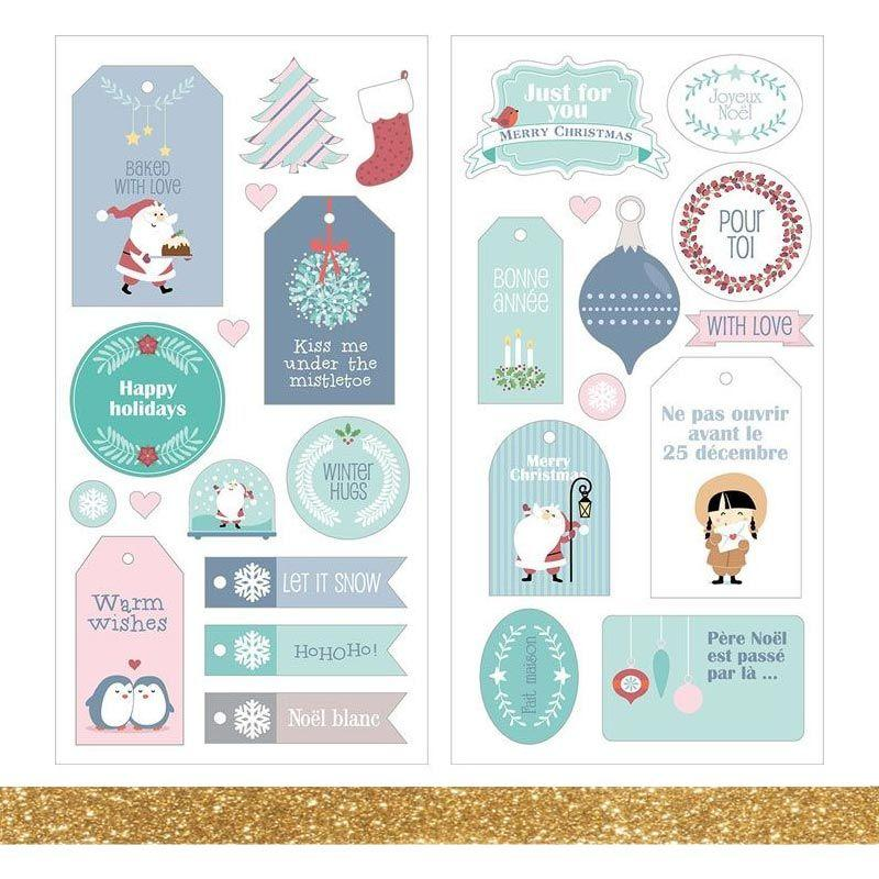 Reindeer Santa Clause The Night Before Christmas Christmas Glitter Stickers