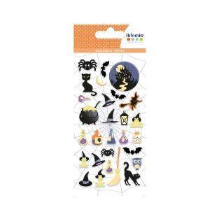 28 puffies stickers Halloween - Witch