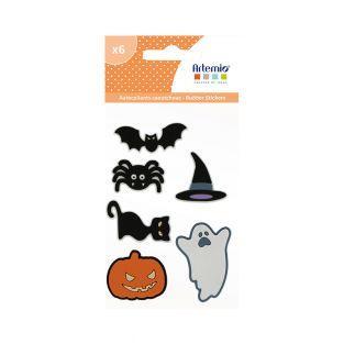 6 adesivi in gomma - Halloween