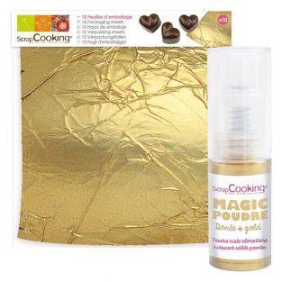 10 goldene Blätter Gebäck +...