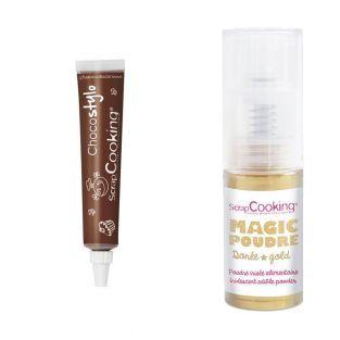 Chocolate pen + Golden edible powder
