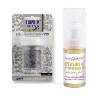 Edible Glitter Flakes Silver + Golden...