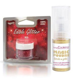 Edible glitter for Christmas Red +...