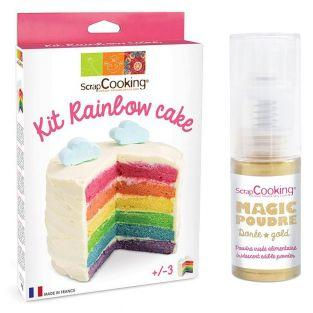 Rainbow cake kit + Golden edible powder