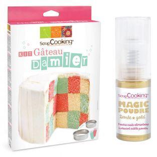Checkerboard cake kit + Golden edible...
