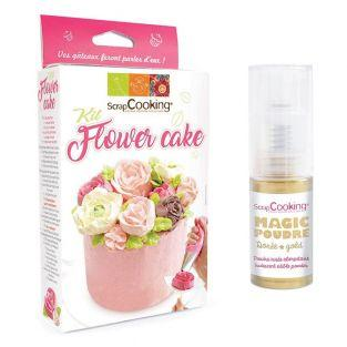 Flower Cake Box + Golden edible powder