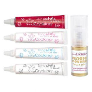 Kit 4 icing pens + Golden edible powder