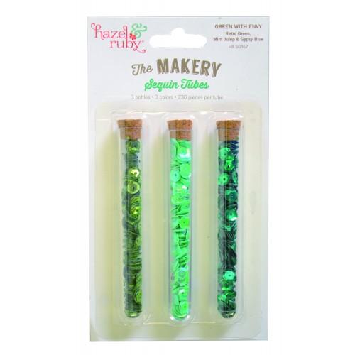 3 Sequin tubes to fix or to sew - green