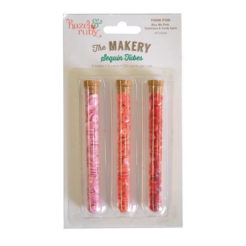 3 Tubos de lentejuelas para pegar o coser - rosa, coral y rojo