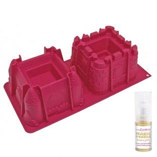 Castle cake mould + Golden edible powder
