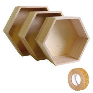 3 estantes de madera hexagonales +...